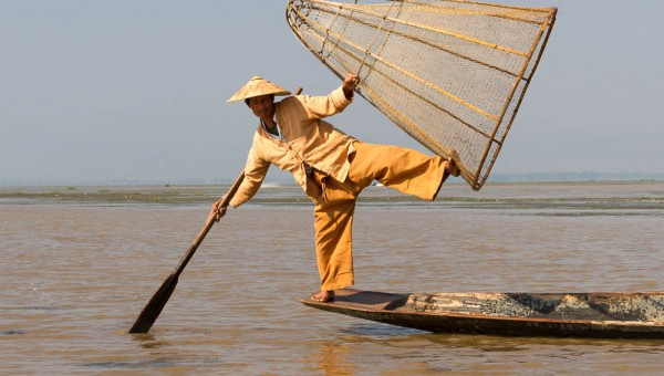 Traditional fisherman, Inle Lake, Myanmar