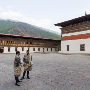 Men in Gho at Thimphu Dzong