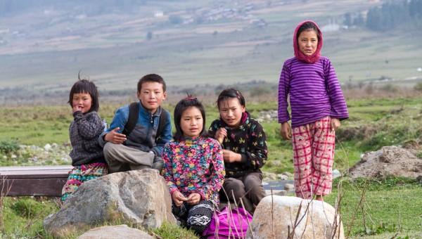 Kids going to school in Wangdue valley, Bhutan