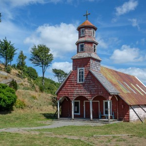 Wooden church in Hillinco on Chiloe Island