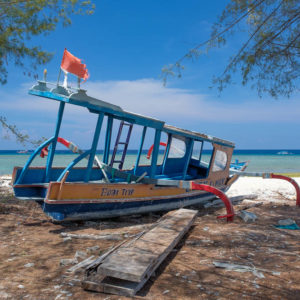 Boat wreck on Gili Meno