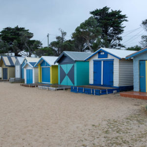 Colourful bathing boxes in Dromana